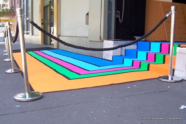 Customised Striped Carpet Entrance