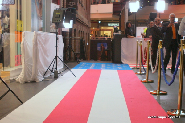 Red, White and Blue Striped Carpet Movie Premiere, Hoyts Melbourne Central