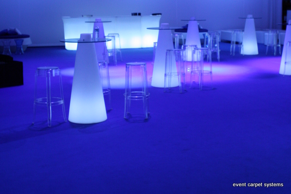 Blue Carpet with Green, Grey and Light Blue Custom Carpet: Company Launch Special Event