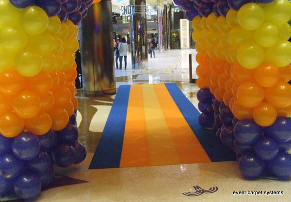 Blue, Orange and Yellow Striped Carpet, Crown